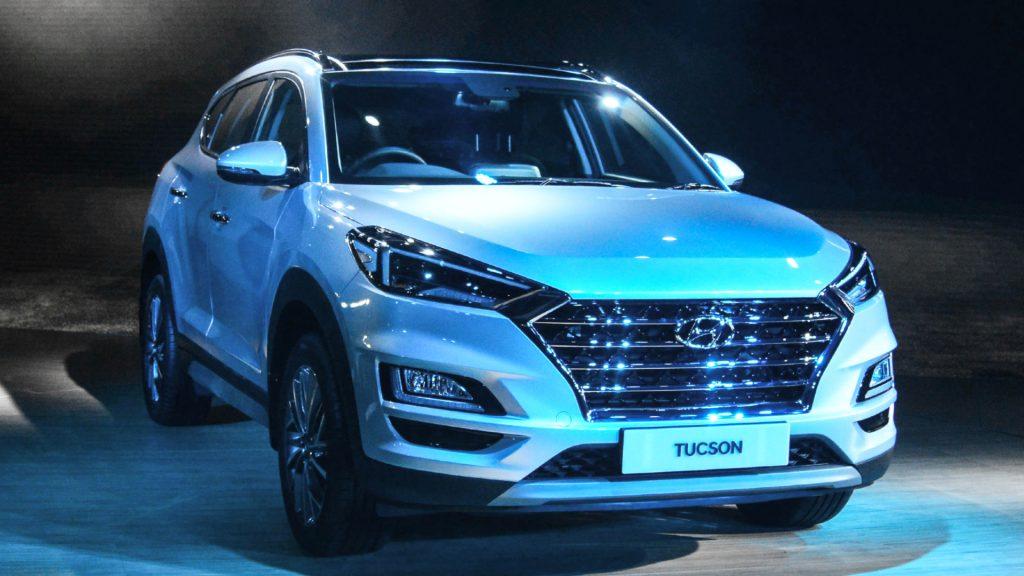 A white Hyundai Tucson at Auto Expo 2020, on February 5, 2020, in Greater Noida, India.