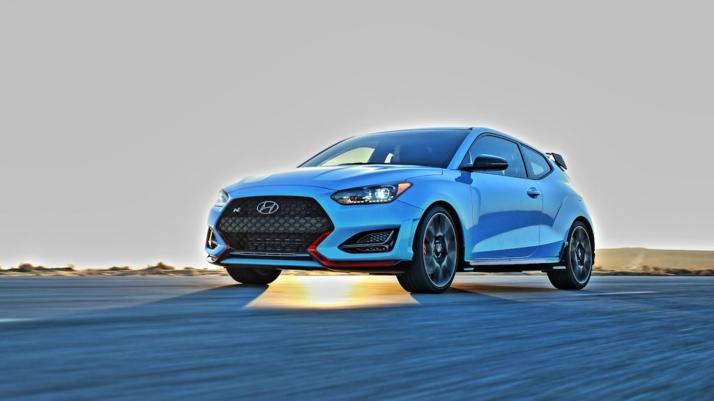 A blue Hyundai Veloster N parked, the Hyundai Veloster N is an affordable sports car