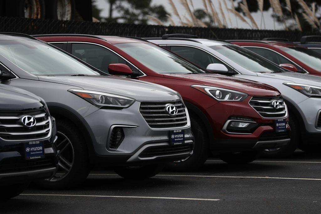 Hyundai cars on a dealership lot