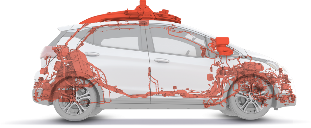 A cross-section of Cruise's driverless software fitted to a Chevy Bolt,