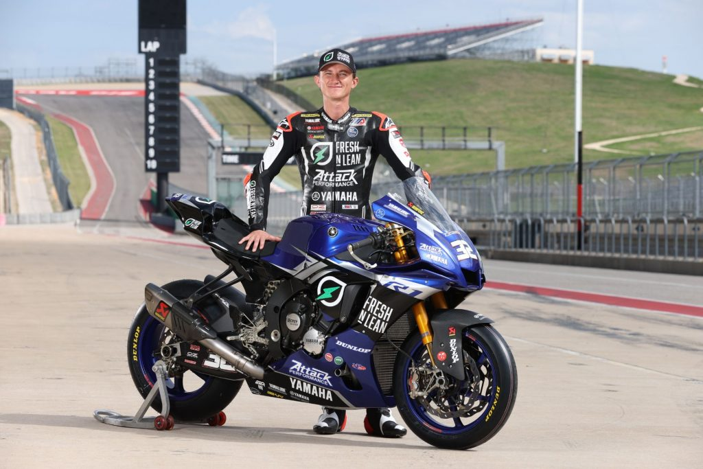 Jake Gagne with his Yamaha R1 MotoAmerica Superbike in the gravel run-off area of a racetrack