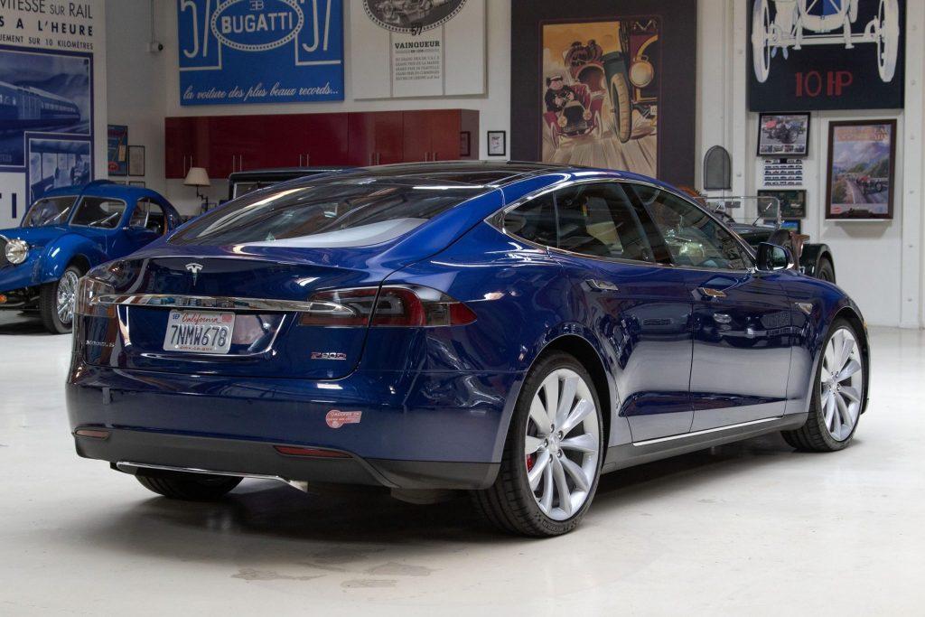 Jay Leno's blue Tesla Model S