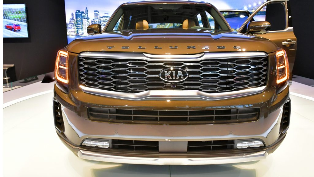 The KIA Telluride is seen at the 2020 New England Auto Show Press Preview at Boston Convention & Exhibition Center on January 16, 2020 in Boston, Massachusetts.