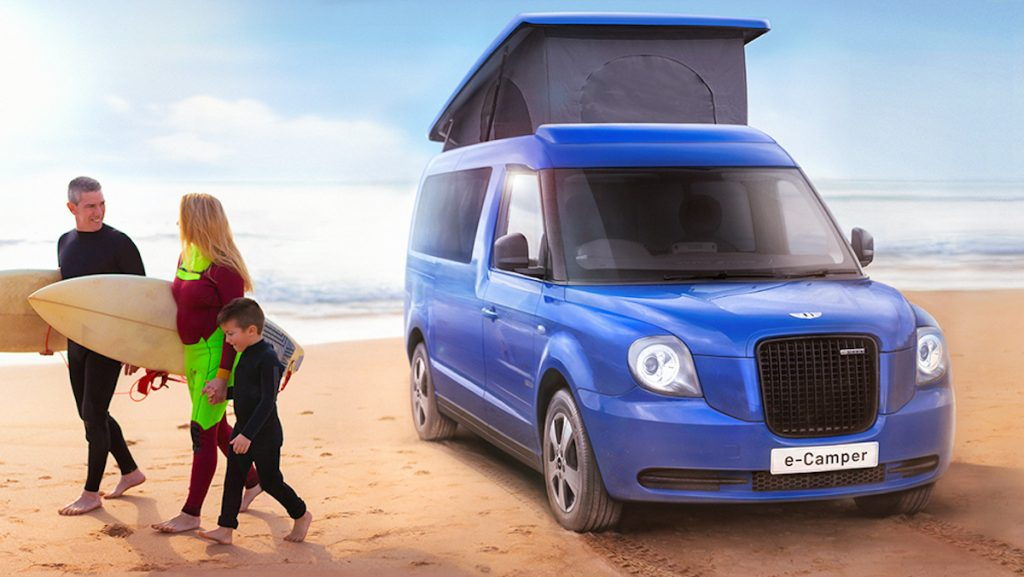 LEVC rendering of the all new electric camper van with it roof popped up