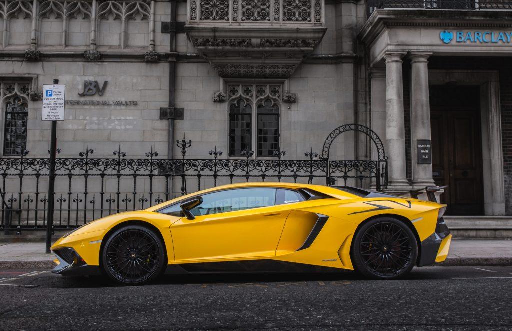 The Lamborghini Aventador SV in Mayfair, London.