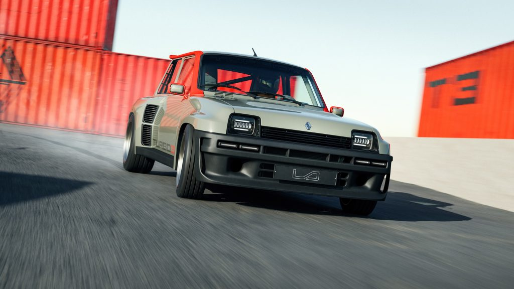 A green-and-black Legende Automobiles Turbo 3 sliding around a lot filled with red shipping containers