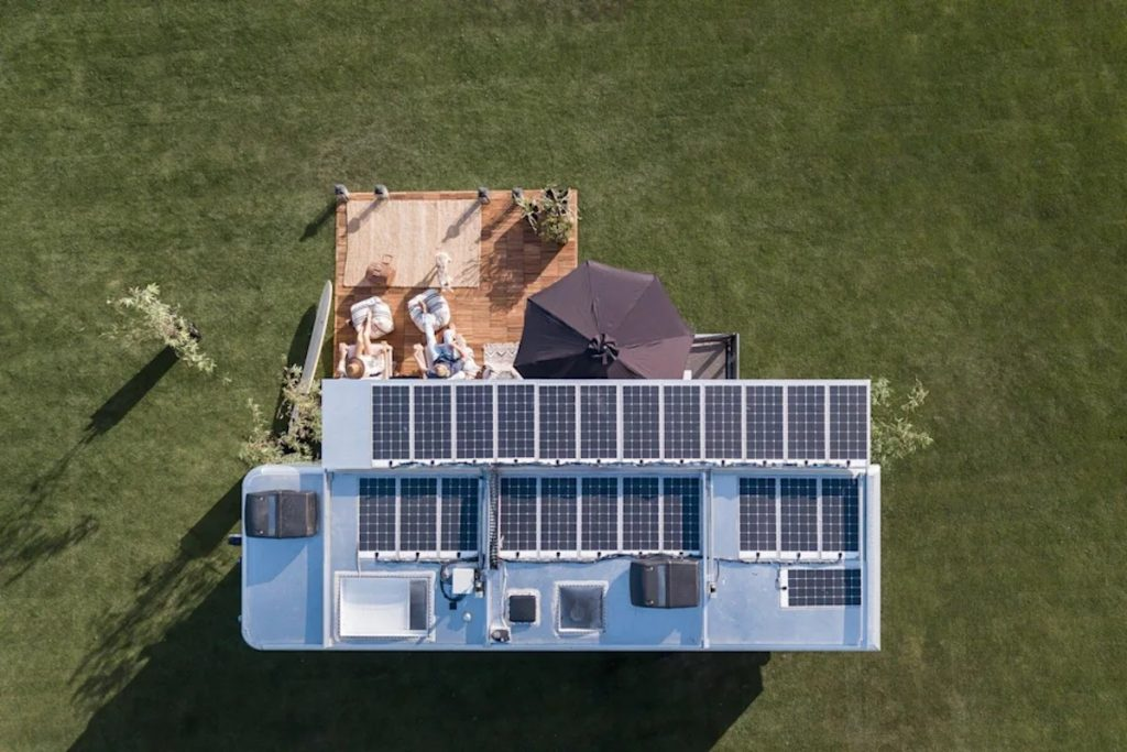 2022 Living Vehicle luxury camper is one of the finest RVs on the market. See its plethora of solar panels adding to is sustainability promise