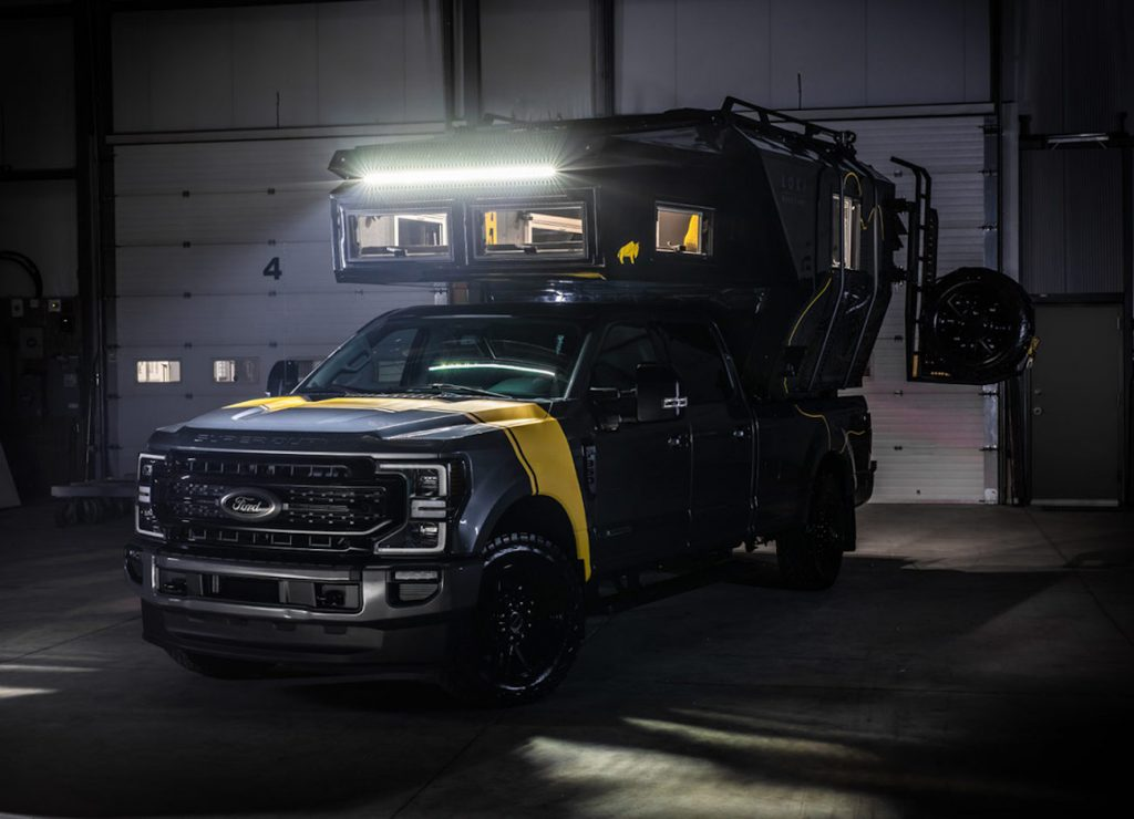 The all-new Loki Falcon parked in a low lit garage is easy to see how it is one of the best camper trucks