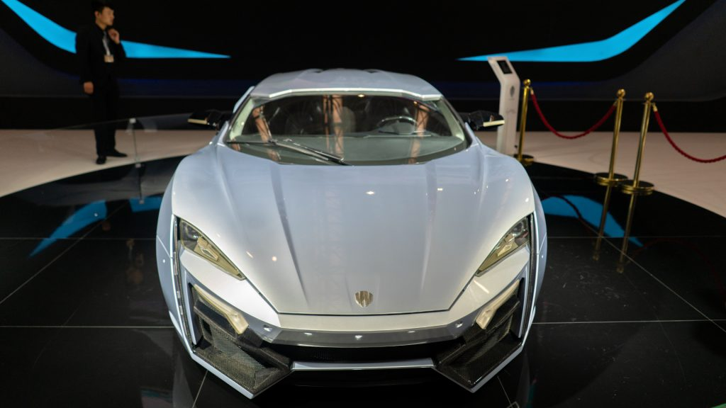 Lykan HyperSport car from 'Fast and Furious 7', shown on the 2nd World Intelligence Congress , held in Tianjin Meijiang Exhibition Center.