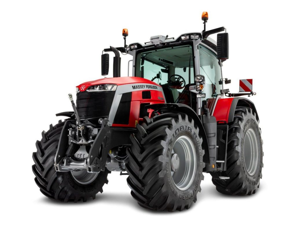 a press photo of the new Massey Ferguson 8S tractor against a white backdrop