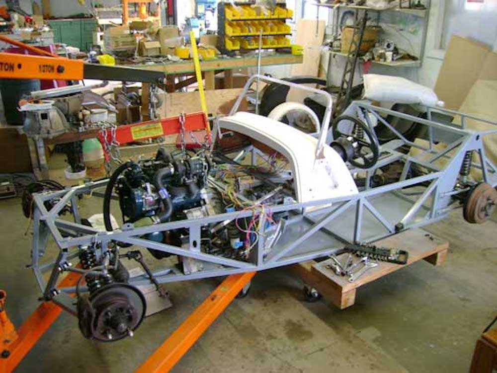 Kinetic MAX Frame being assembled in garage