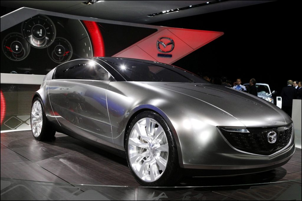 A silver Mazda prototype at the Paris Auto Show on display in September 2006