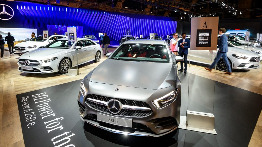Mercedes-Benz motor show stand with the Mercedes-Benz A Class plug in hybrid A250e compact hatchback car on display at Brussels Expo on January 9, 2020 in Brussels, Belgium.