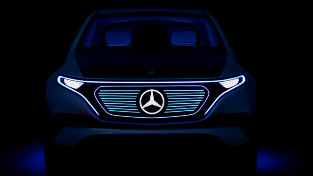 A Mercedes-Benz electric vehicle silhouette.