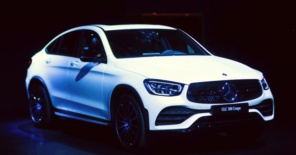 Mercedes GLC 300 Coupe is on display during the New York International Auto Show on April 18, 2019 in New York, United States.