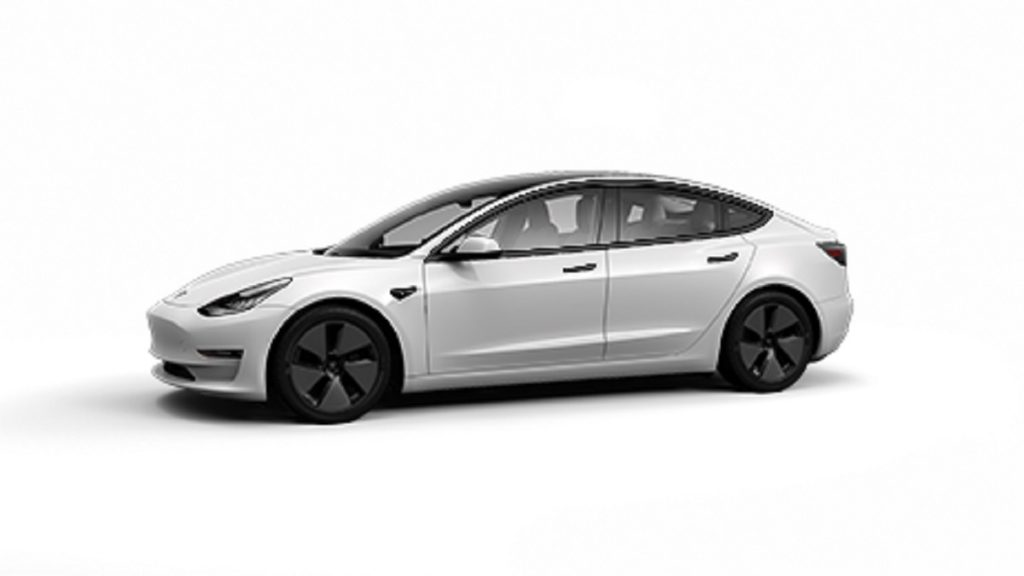 A white 2021 Tesla Model 3 against a white background.