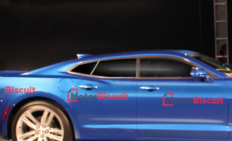 MotorBiscuit 4-door Camaro sedan close up