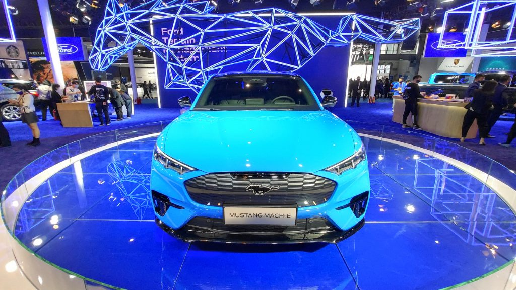 A blue Ford Mustang Mach-e sports car is seen at the third China International Import Expo in Shanghai, China, on 5 November 2020.