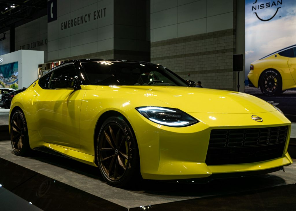 The front 3/4 view of the yellow Nissan Z Proto Concept at the 2021 Chicago Auto Show