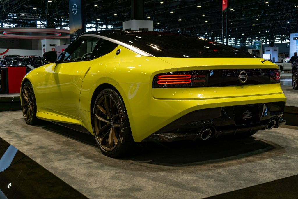 The rear 3/4 view of the yellow Nissan Z Proto Concept at the 2021 Chicago Auto Show