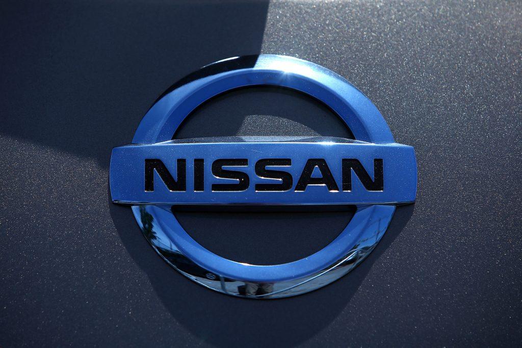 The Nissan logo displayed on a car at Nissan Marin on May 1, 2014, in San Rafael, California