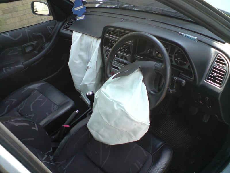 Airbags deployed in a Peugeot