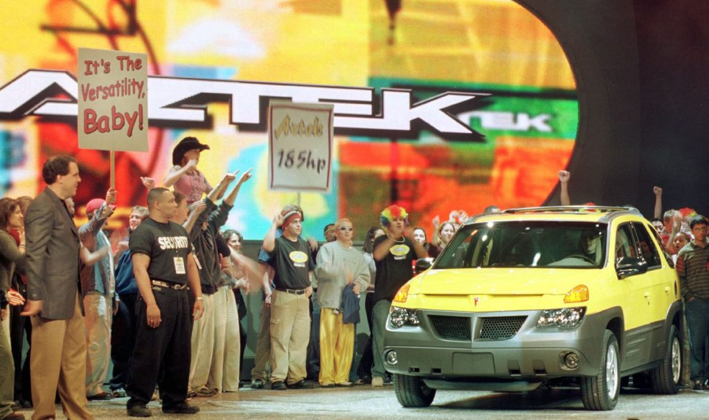The paid crowd at the reveal of the 2000 Pontiac Aztek