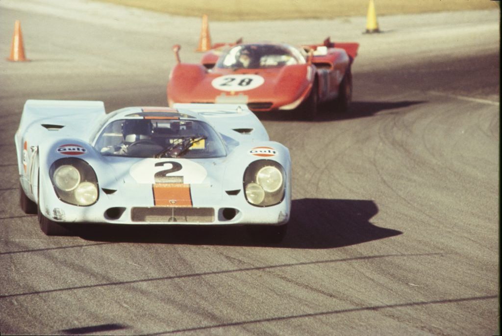 The number two Gulf-Porsche 917K driven by Pedro Rodriguez at the 24 Hours of Daytona in 1970