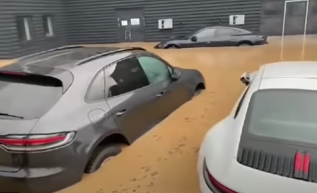 flooded Porsches at German dealership