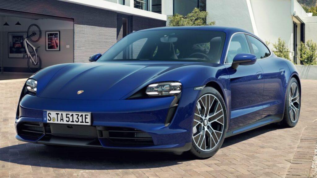 A blue Porsche Taycan.