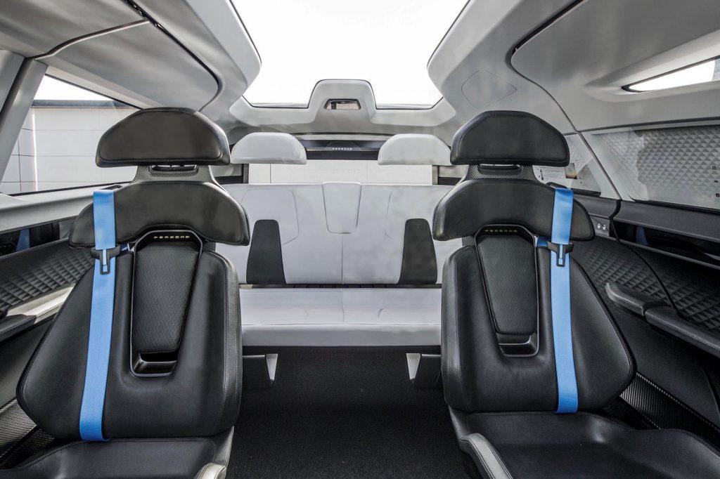 a view of the back of the Porsche concept minivan