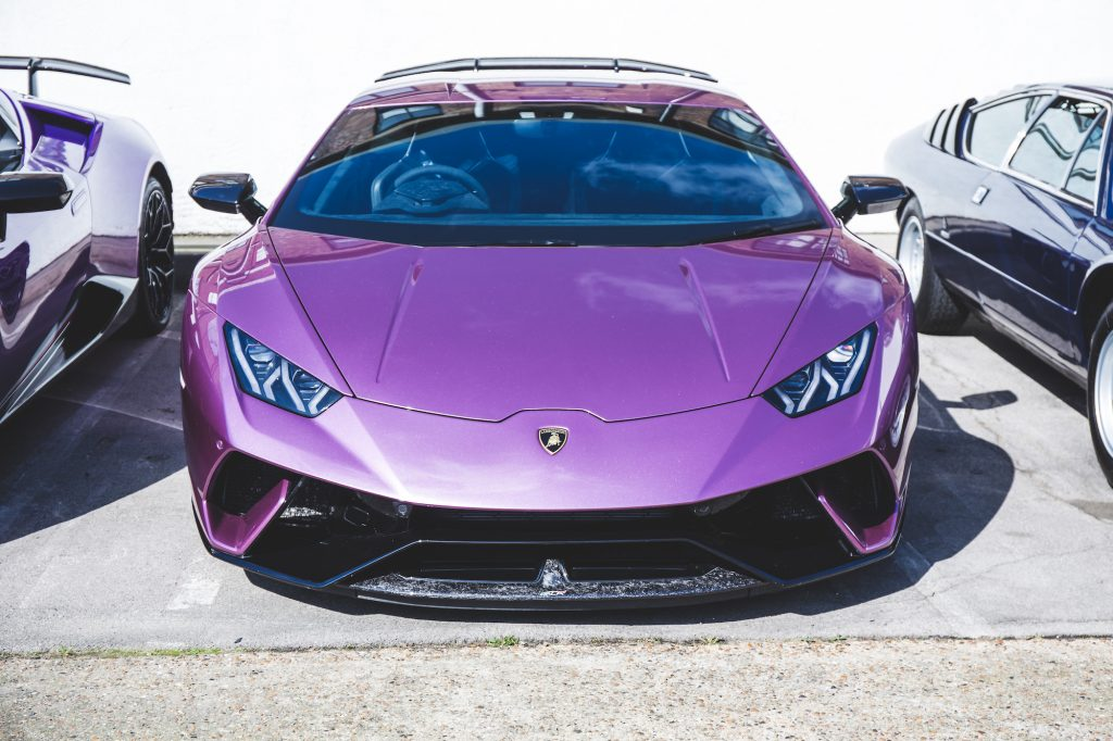 A purple Lamborghini Huracán Performante at Supercar Sunday in London in March 2019