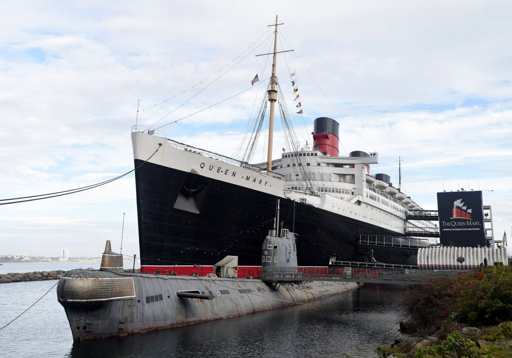 View from the Queen Mary ocean liner  and Scorpion submarine