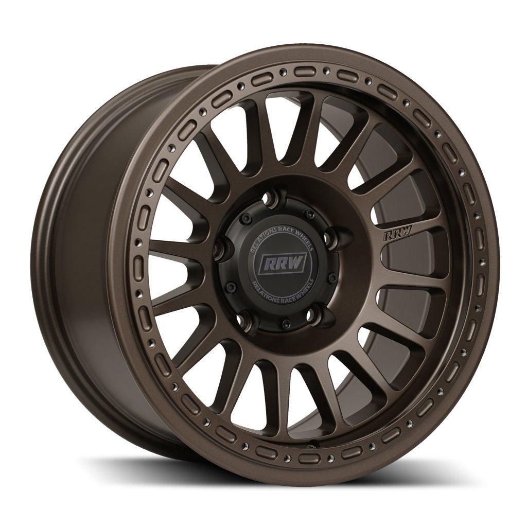 A bronze Relations Race Wheels hybrid beadlocking wheel