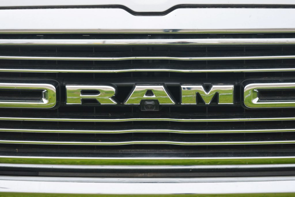 """The grille of a Ram with """"RAM"""" placed in the grille."""