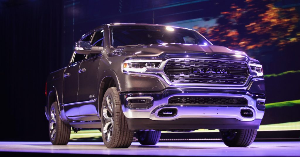 Ram 1500 pickup truck at the North American International Auto Show (NAIAS) on January 15, 2018 in Detroit, Michigan.