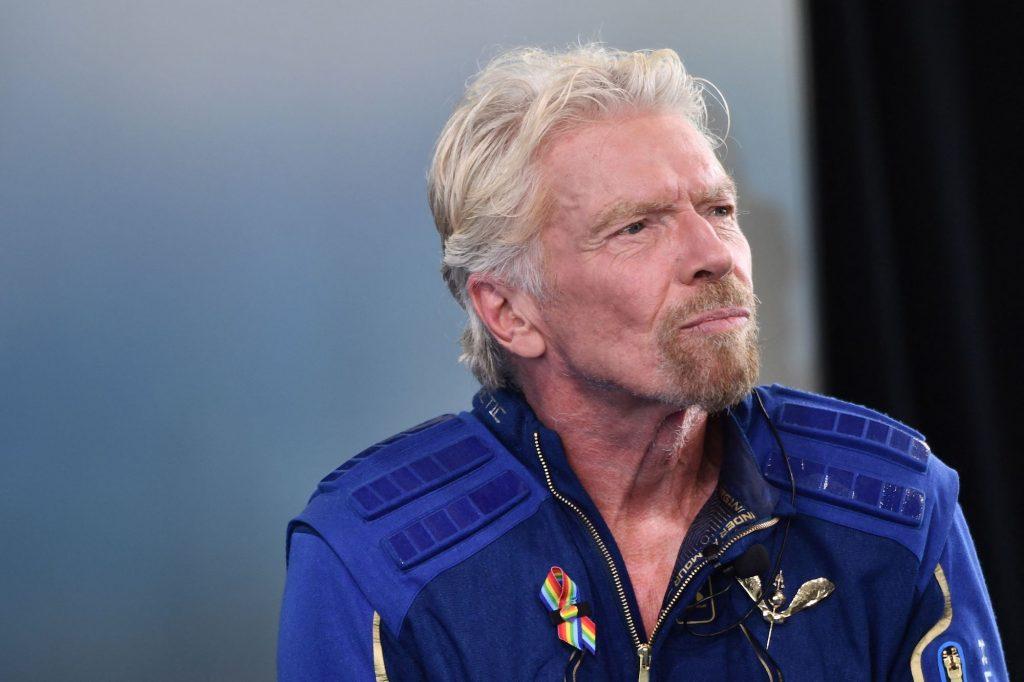 Richard Branson speaks after he flew to space aboard a Virgin Galactic vessel on July 11, 2021