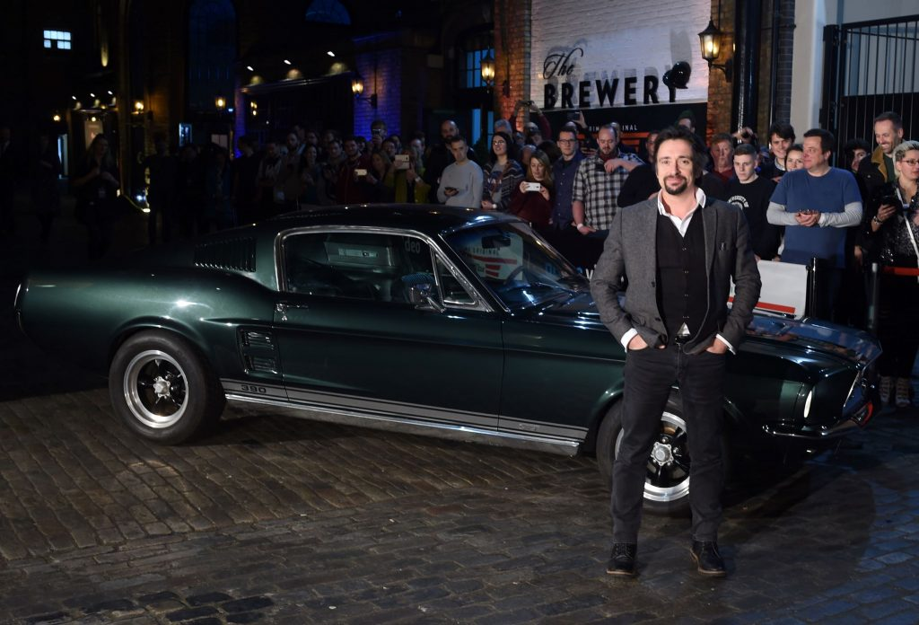 Richard Hammond with his dark-green classic Ford Mustang at The Grand Tour Season 3 premiere