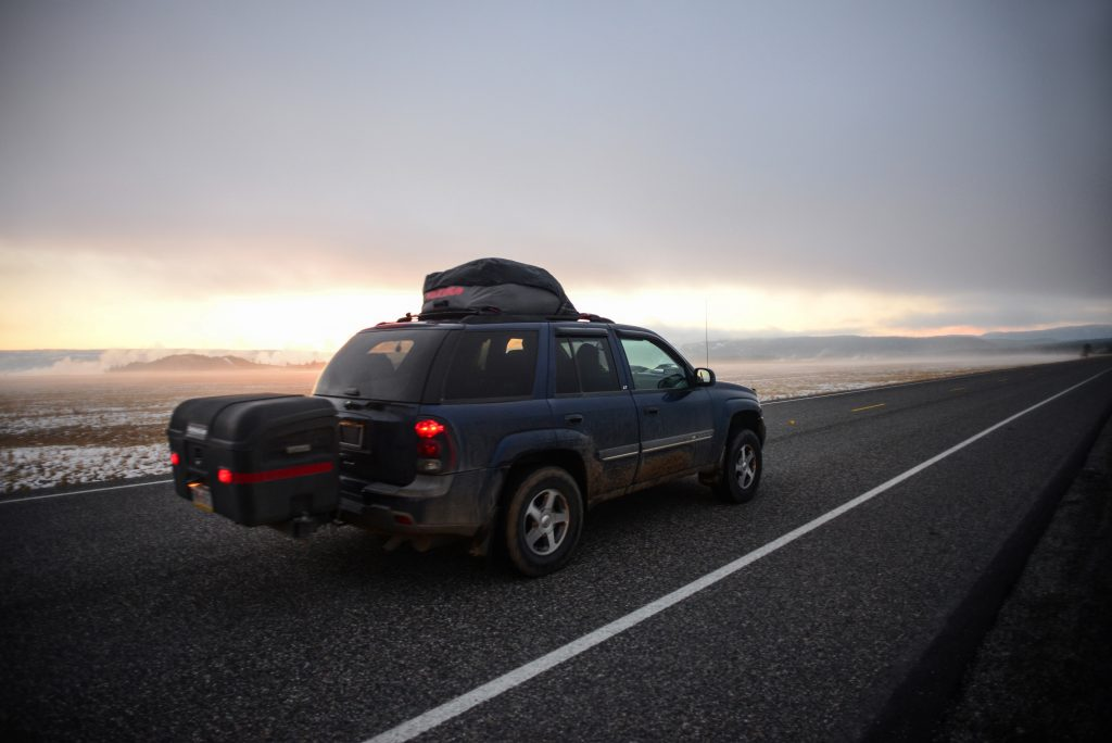 Road at sunset in Yellowstone