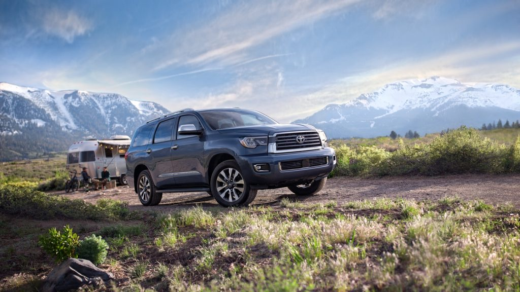 2021 Toyota Sequoia at a campsite in the mountains