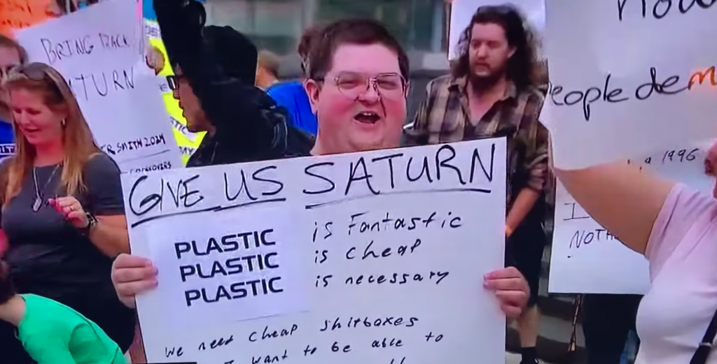 Saturn protester at GM headquarters