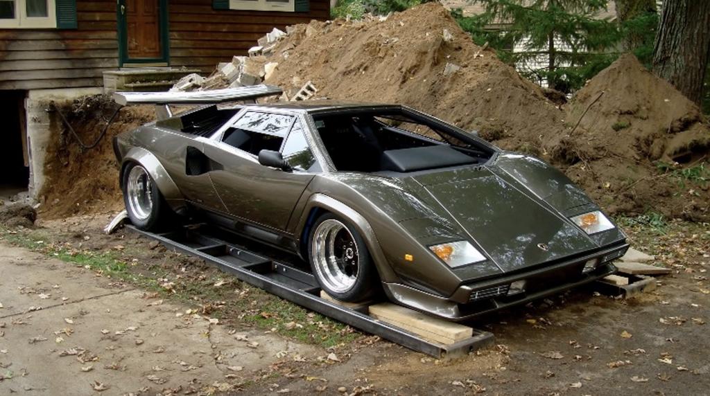 An image of a custom-built Lamborghini Countach replica.