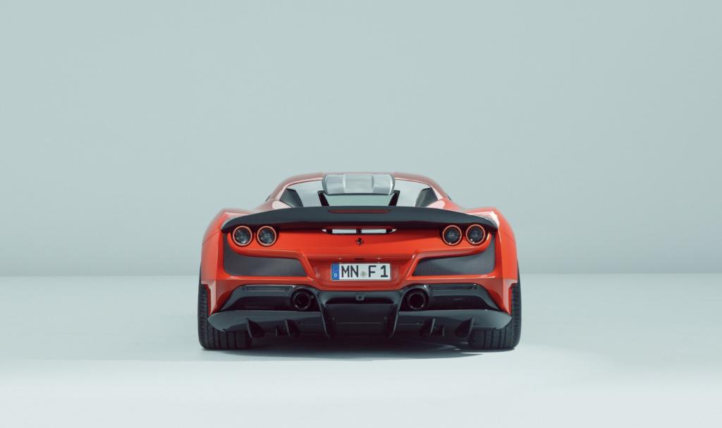 An image of a Ferrari F8 Tributo N-Largo by Novitec in a photo studio.