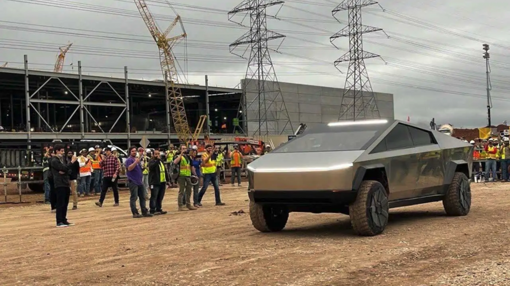 The 2021 Tesla Cybertruck at a construction site like a work truck