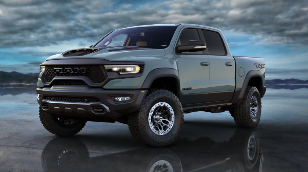 The 2021 Ram 1500 TRX parked on a reflective surface