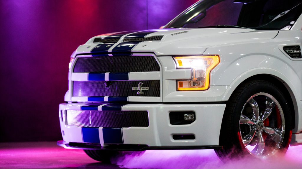 A Shelby F150 Power Pickup can be seen under colorful light in Essen, Germany, 23 October 2017.