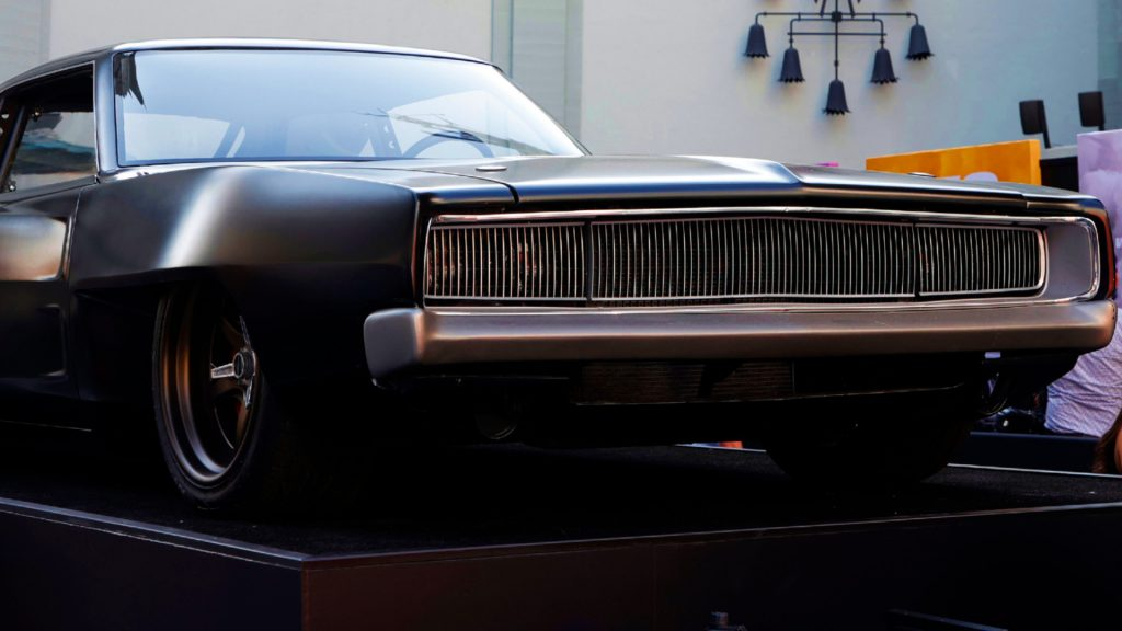 """A black car is displayed during the Universal Pictures """"F9"""" World Premiere at TCL Chinese Theatre on June 18, 2021 in Hollywood, California."""
