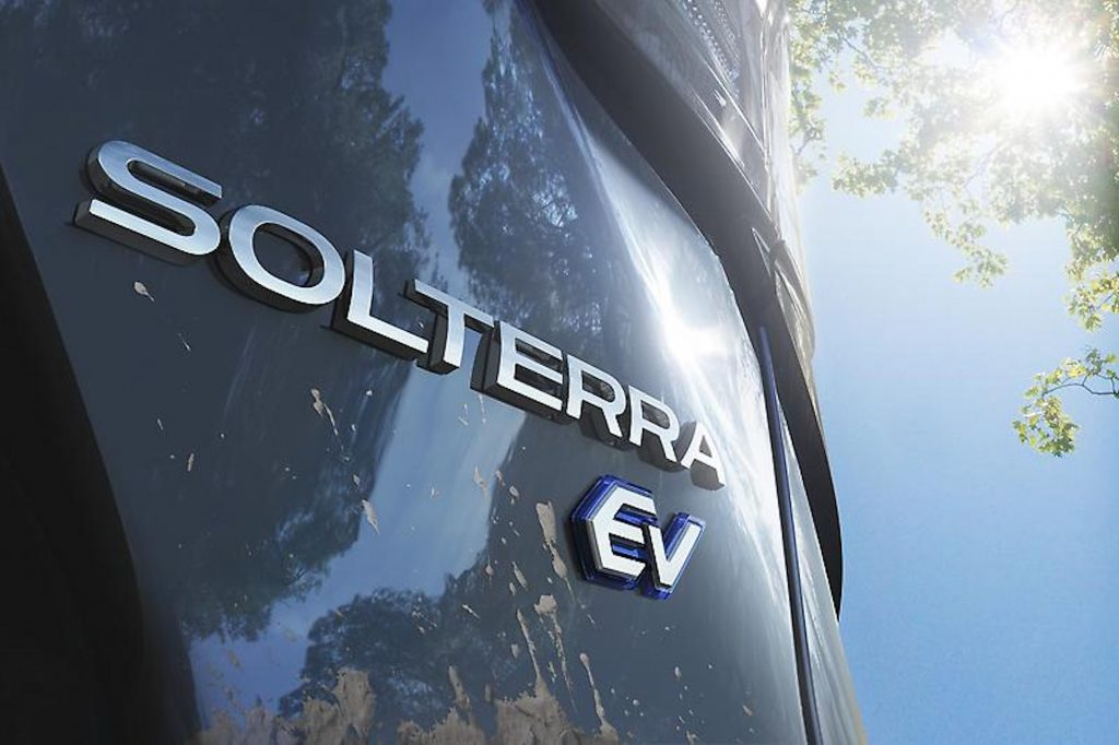 The Solterra EV badging on the back of the all-wheel drive electric SUV