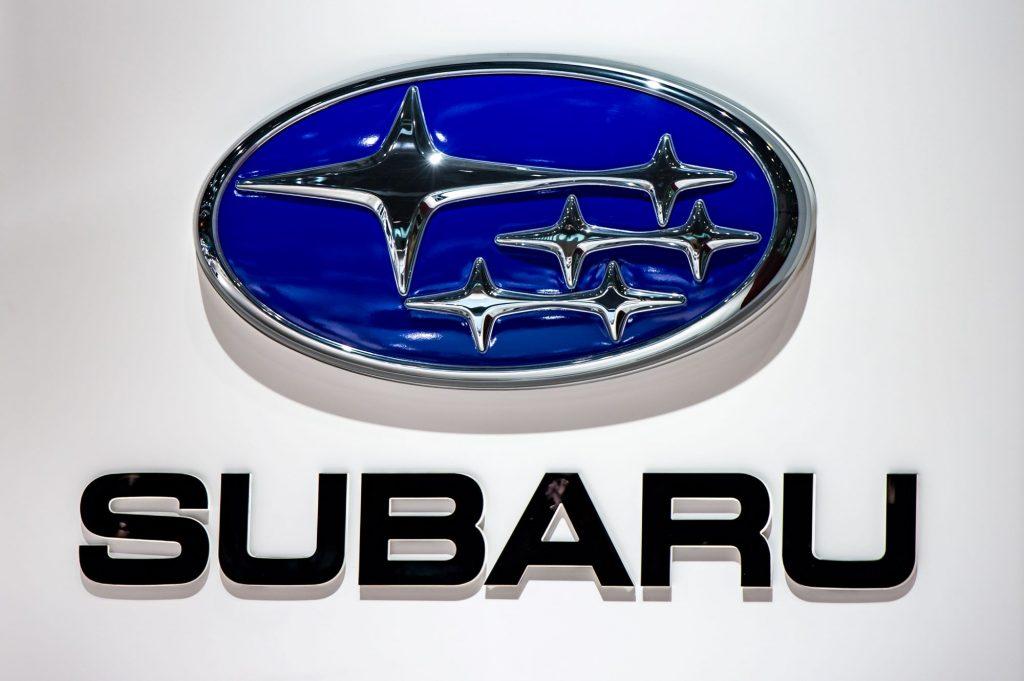 The blue Subaru log on a white background with 'Subaru' printed below it in black.