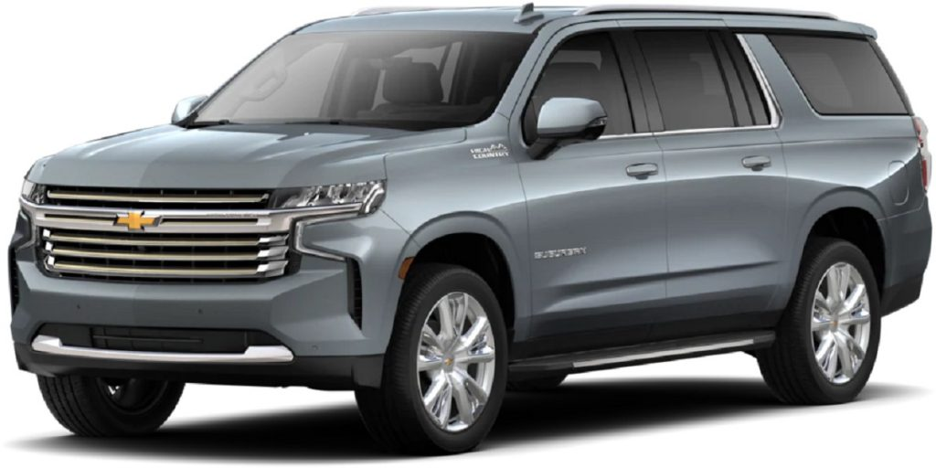 A gray 2021 Chevy Suburban against a white background.